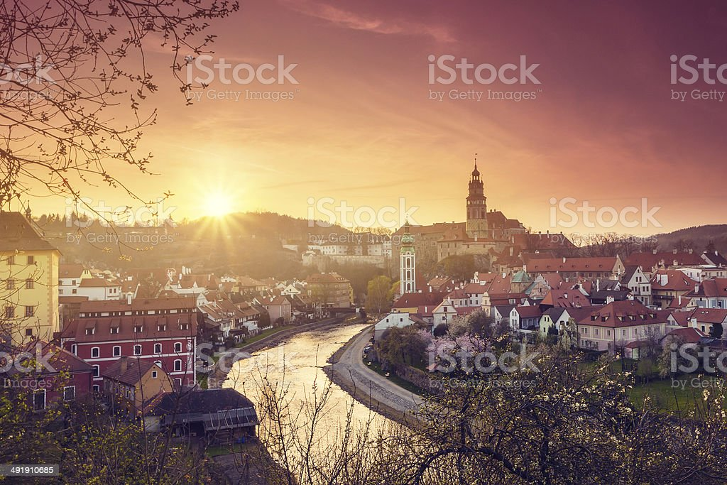 Sunrise in Cesky Krumlov stock photo