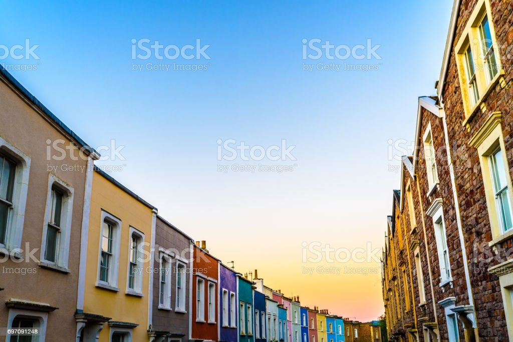 Sunrise in Clifton village Bristol stock photo