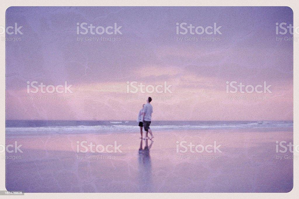 Sunrise in Daytona Beach, Florida - Vintage Postcard royalty-free stock photo