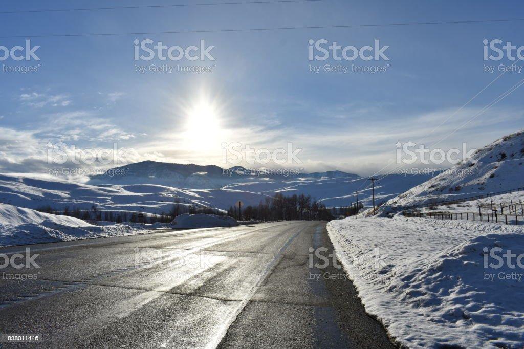 Sunrise in Eastern Washington stock photo