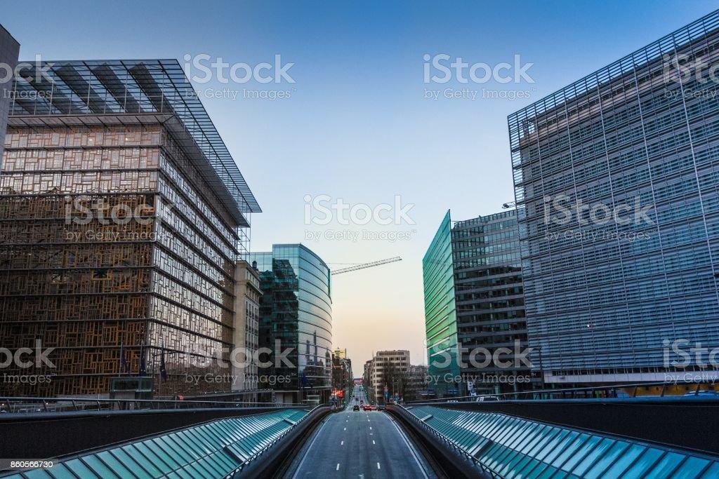 Sunrise in European Quarter in Brussels stock photo