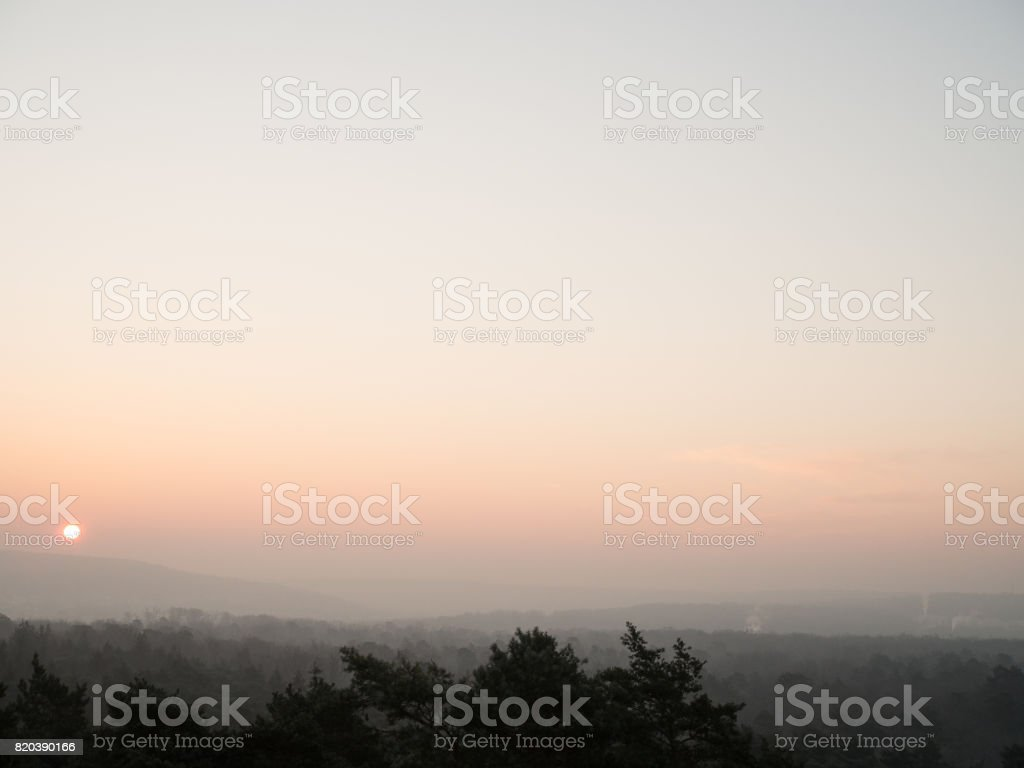 Sunrise in Fontainebleau Forest stock photo