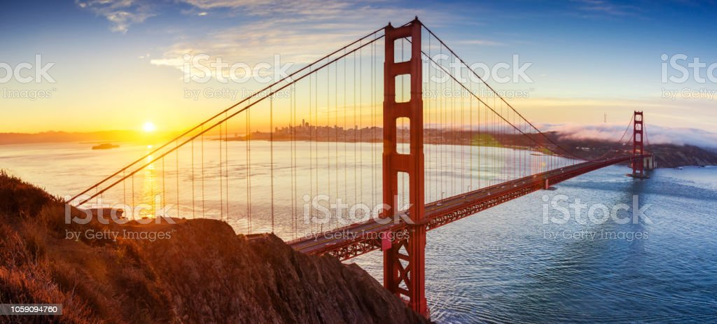 sunrise in Golden Gate bridge, San Francisco, California. USA stock photo