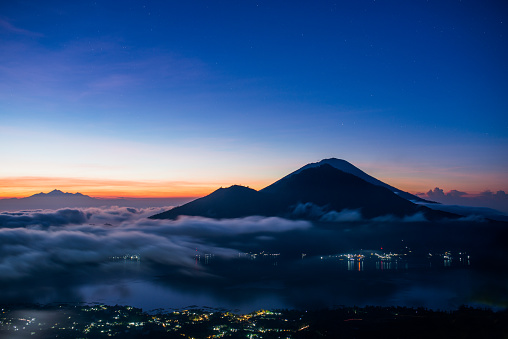 Sunrise In Indonesia Morning At Batur Stock Photo - Download Image Now