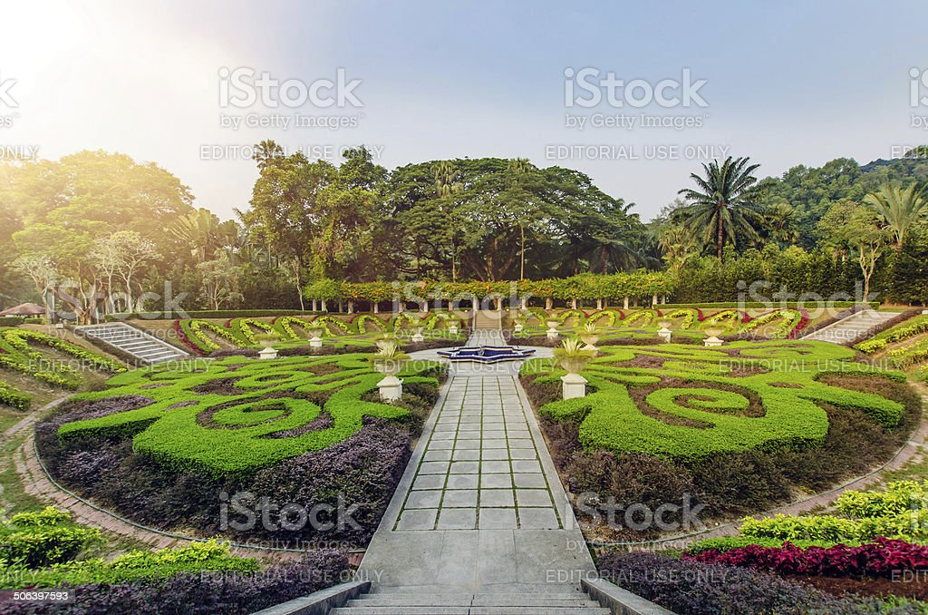 Sunrise in Kuala Lumpur Lake Garden stock photo
