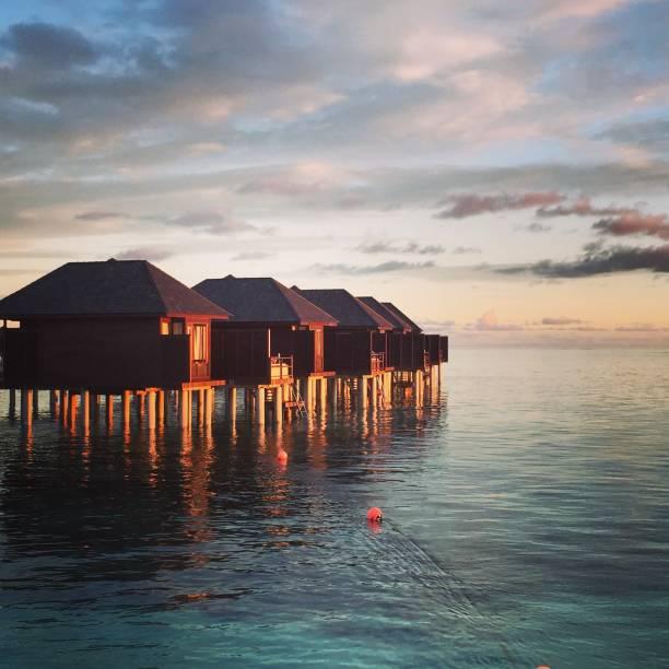 Sunrise in Maldive stock photo