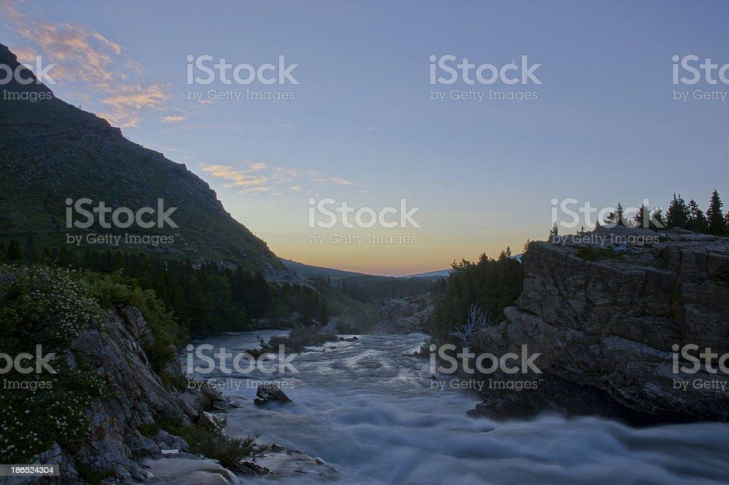 Sunrise in Many Glacier royalty-free stock photo