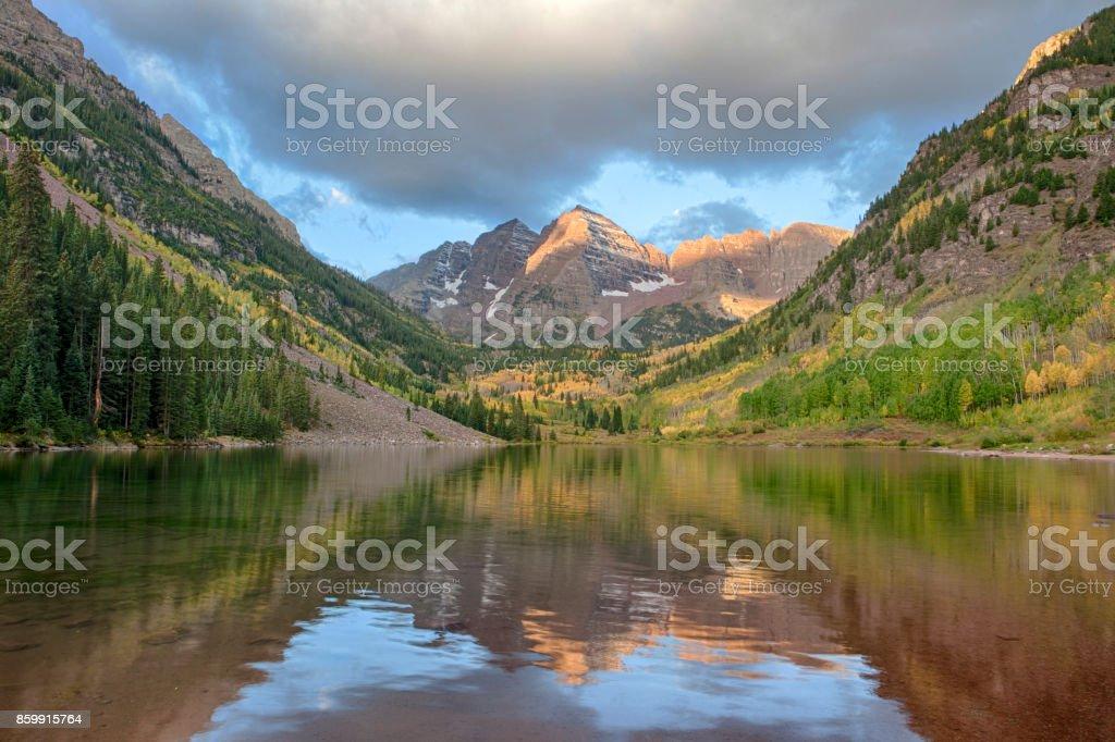 Sunrise In Maroon Bells Aspen Colorado Stock Photo