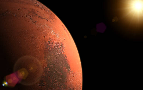 Sunrise in Mars stock photo