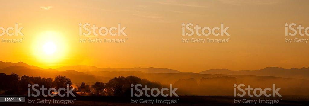 Sunrise in Montana stock photo