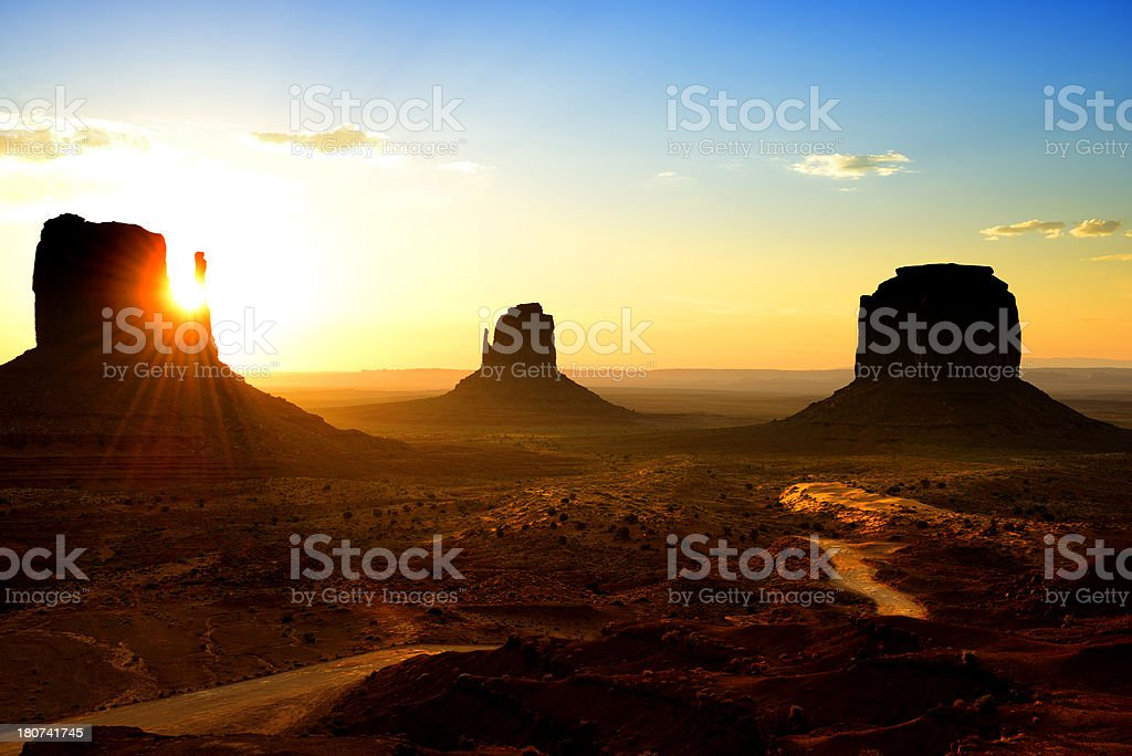 Sunrise in Monument Valley royalty-free stock photo