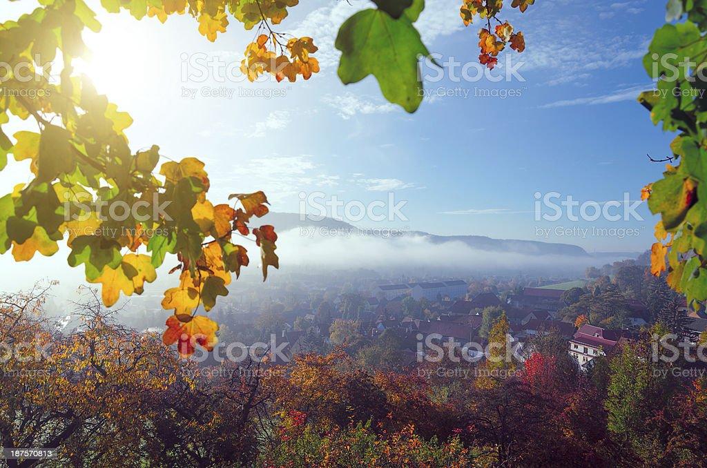 sunrise in morning dust - Germany stock photo