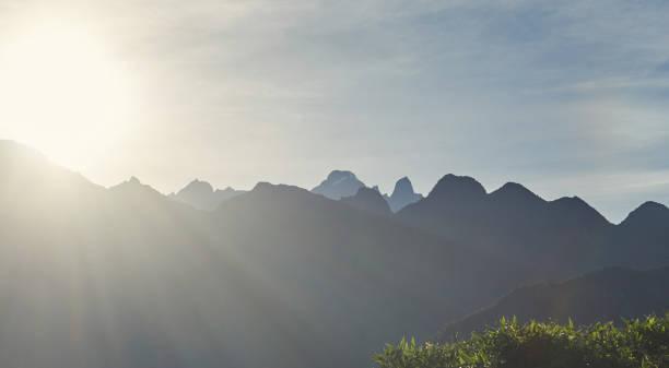 Sunrise in mountain landscape stock photo