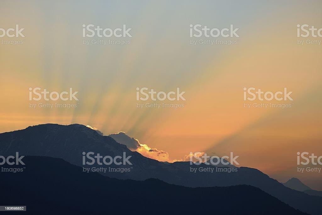 sunrise in Nepal royalty-free stock photo