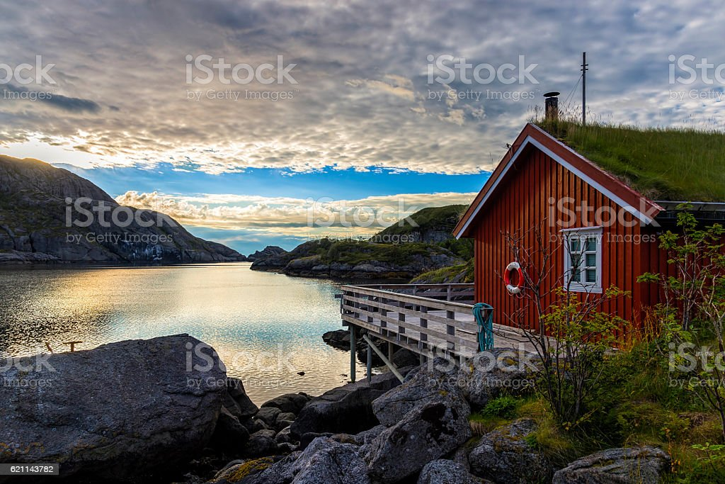 Sunrise in Nusfjord village, Norway stock photo