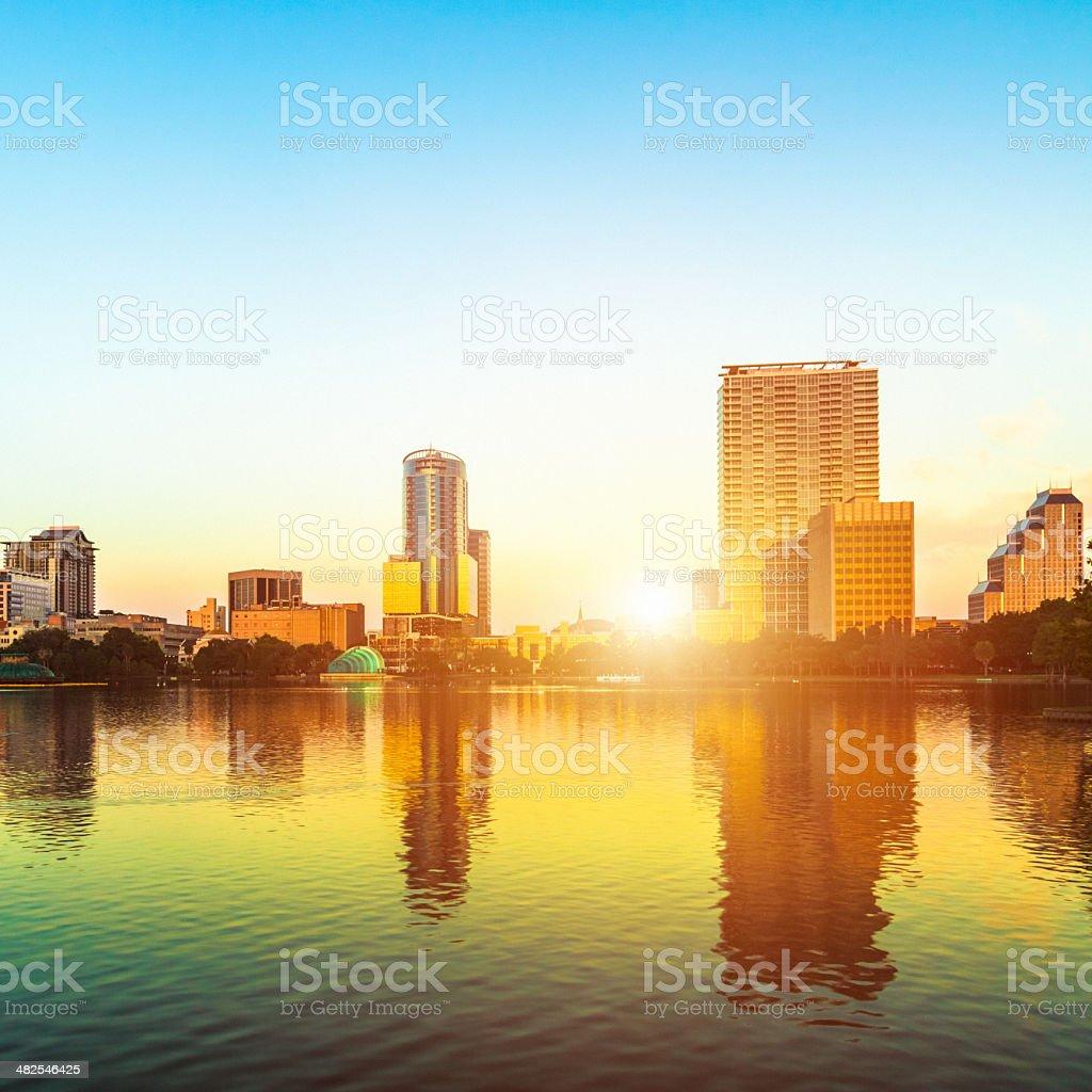 Sunrise in Orlando, Lake Eola, Sunlight Flares stock photo