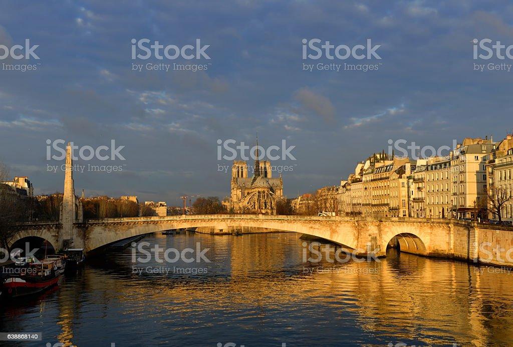 Sunrise in Paris at Notre Dame de Paris stock photo