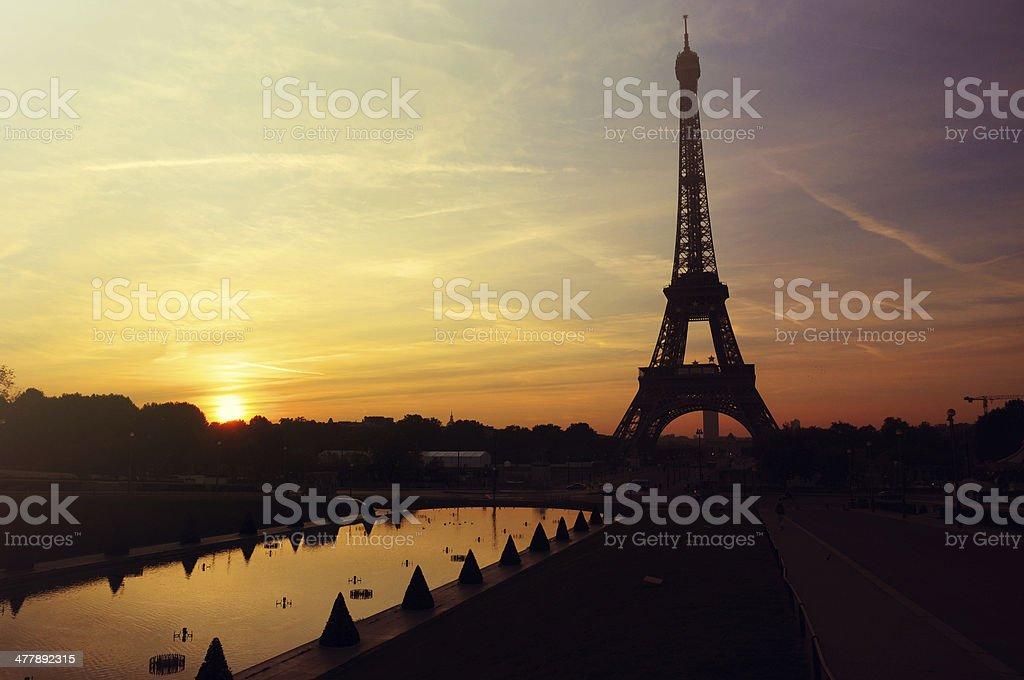 Sunrise in Paris  Eiffel Tower royalty-free stock photo