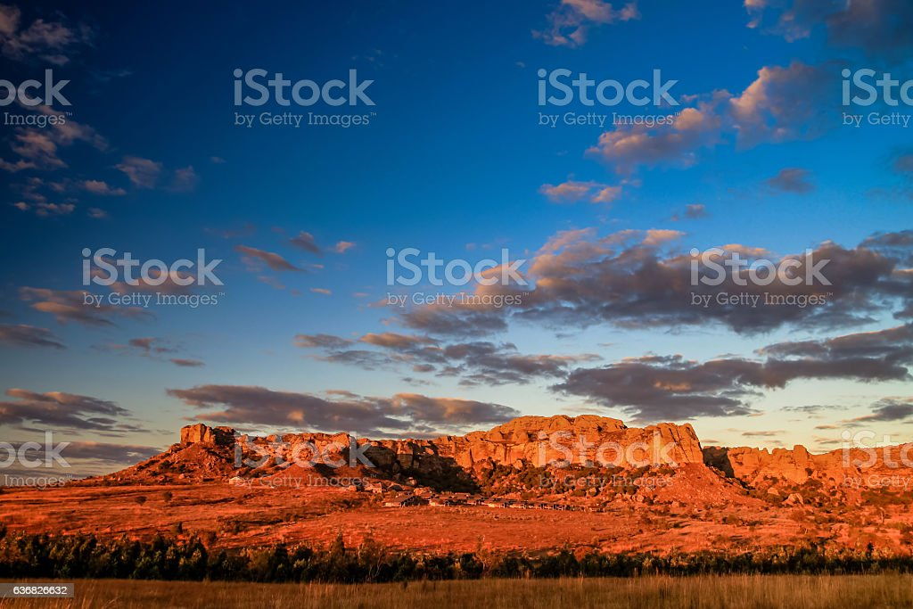 Sunrise in Park National Isalo stock photo