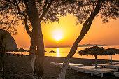 Sunrise in Perissa beach Santorini
