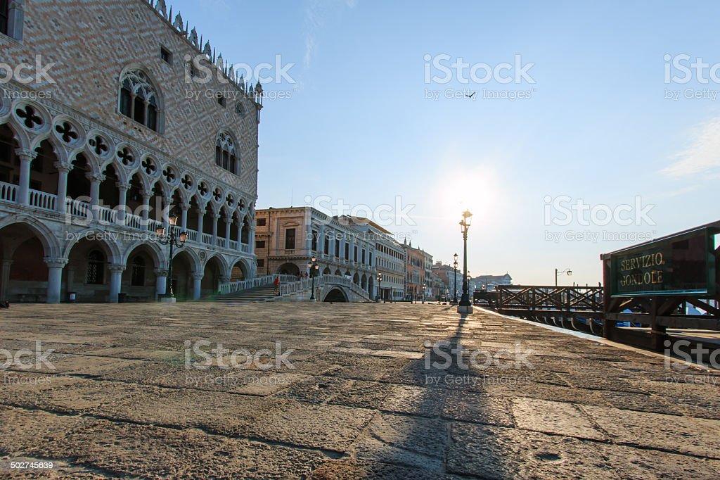 Sunrise in Piazza San Marco, Venice stock photo
