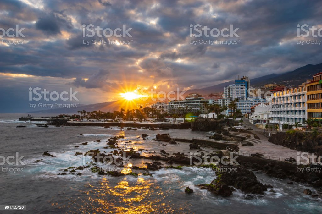 sunrise in Puerto de la cruz in Tenerife royalty-free stock photo