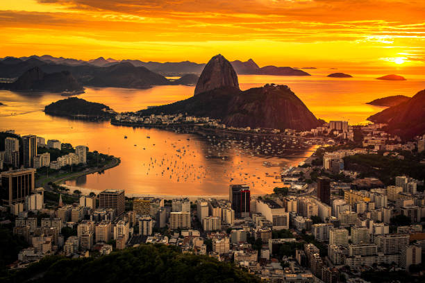 sunrise in rio de janeiro - natural landmark stock pictures, royalty-free photos & images