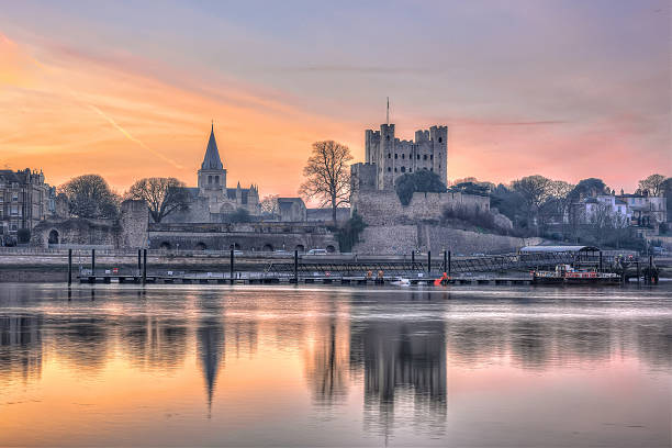 Sunrise in Rochester, Kent stock photo