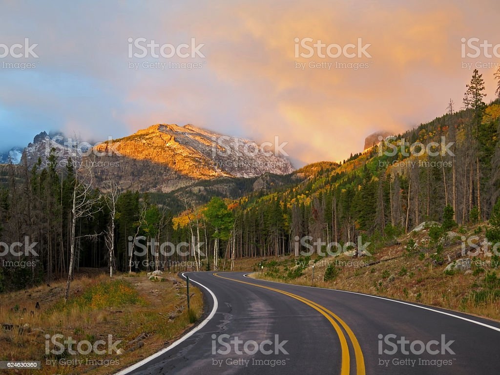 Sunrise in Rocky Mountain National Park stock photo