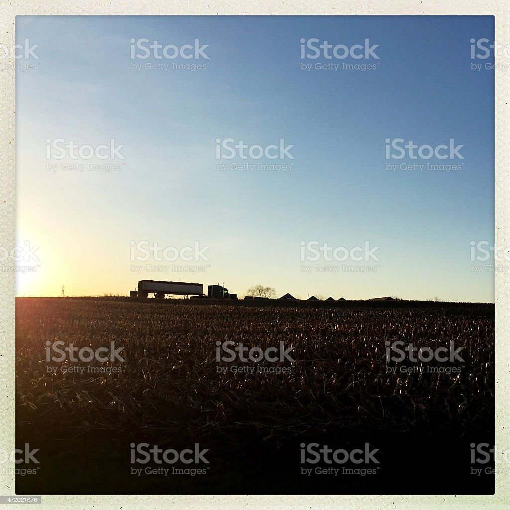 Sunrise in Rural Countryside and Truck stock photo