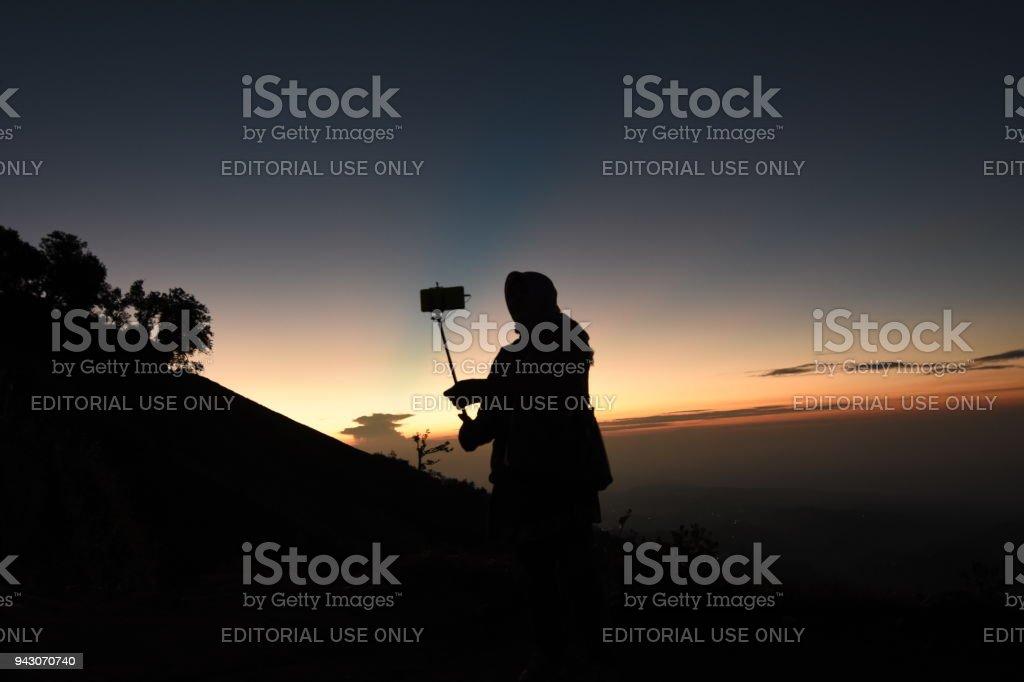 Sunrise in Semeru stock photo