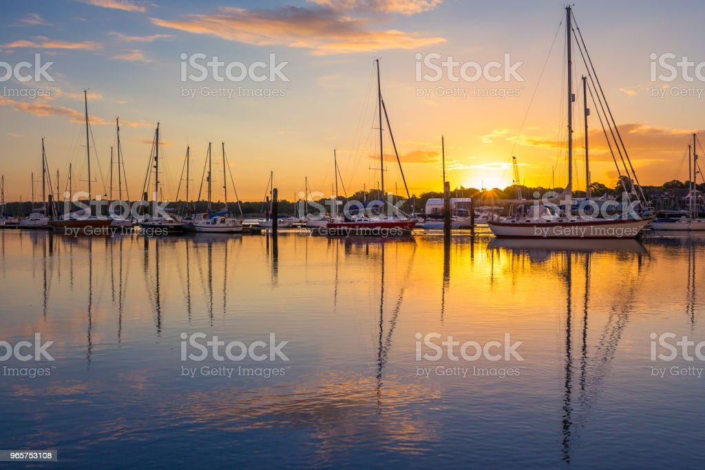 Sunrise in Southampton Marina - Royalty-free Aangemeerd Stockfoto