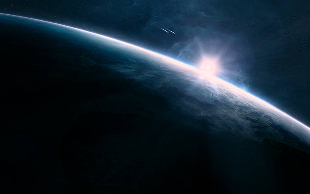 sunrise in space - space exploration stock photos and pictures