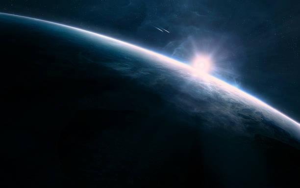 nascer do sol no espaço - exploração espacial - fotografias e filmes do acervo