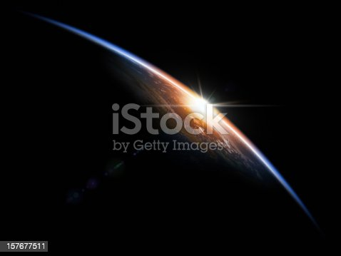 istock Sunrise in Space 157677511