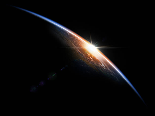 Sunrise in Space Astronomical background. 3D render. satellite view stock pictures, royalty-free photos & images