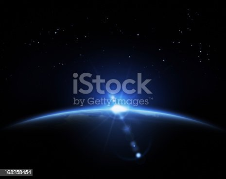 istock Sunrise in space 168258454