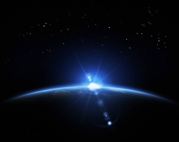 Sunrise in space Planet, rising Sun and sky full of stars horizon over land stock pictures, royalty-free photos & images
