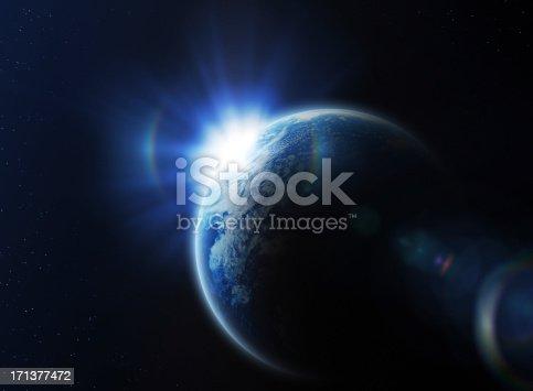 istock Sunrise in space 171377472