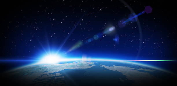 Sunrise in space Earth and rising Sun with lens flare effect satellite view stock pictures, royalty-free photos & images