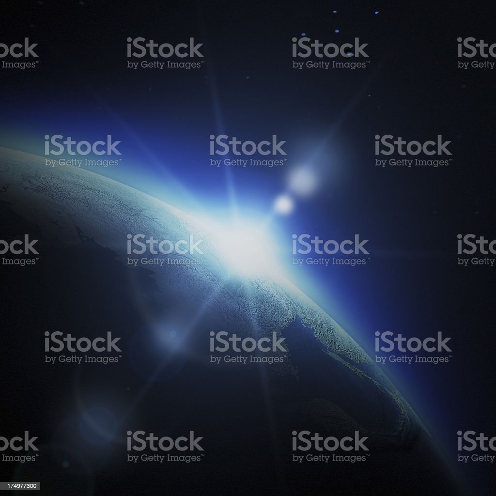 Sunrise in space royalty-free stock photo