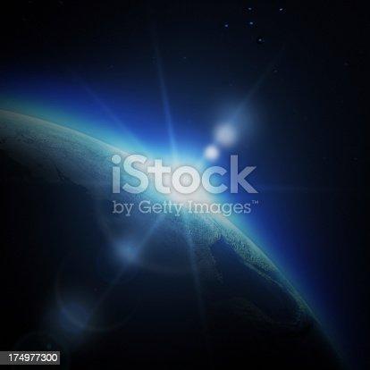 istock Sunrise in space 174977300