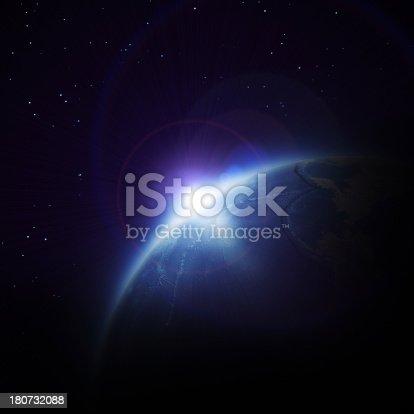 istock Sunrise in space 180732088