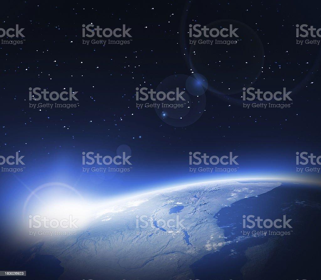Sonnenaufgang im Raum - Lizenzfrei Astronomie Stock-Foto