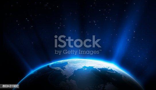 istock Sunrise in Space 853431932