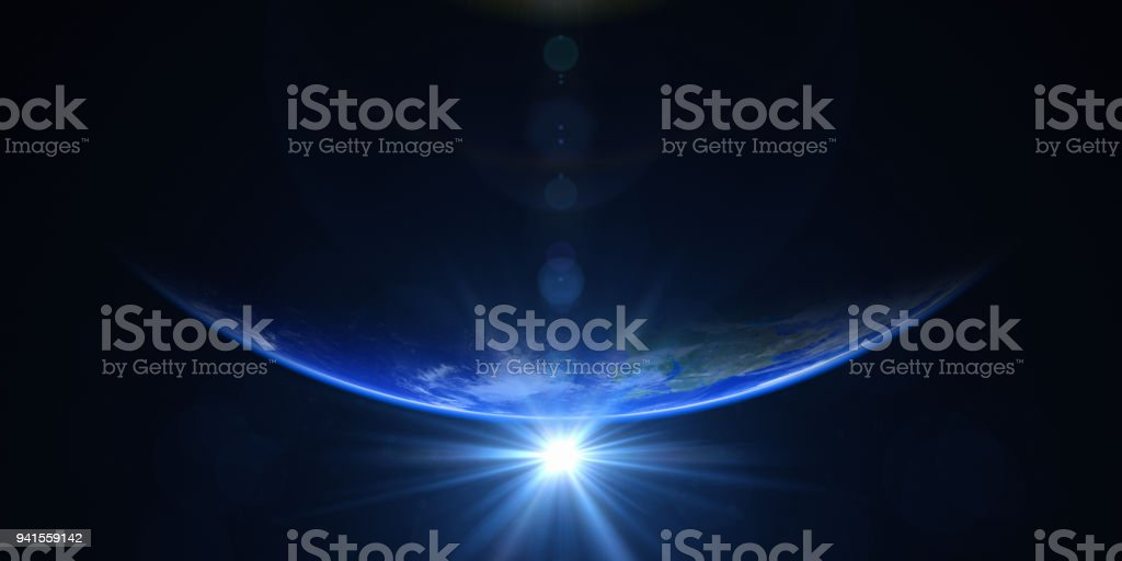 Sunrise In Space stock photo