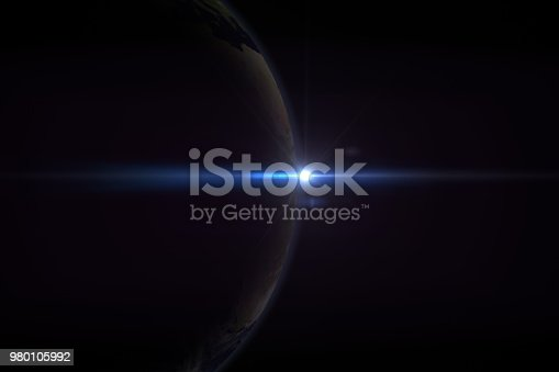 istock Sunrise in space with earth, solar energy concept. 980105992