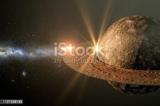 istock Sunrise in space with planet, solar energy concept. 1137338193