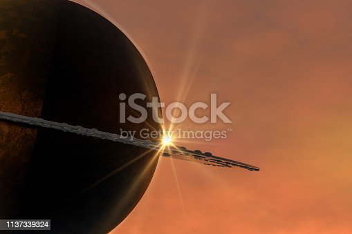 istock Sunrise in space with planet, solar energy concept. 1137339324
