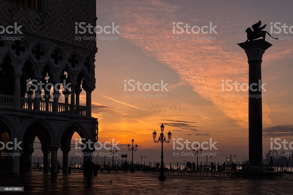 Sunrise in St Mark's Square, Venice stock photo